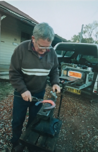Sandy Sutherland, Farrier from Albury Wodonga, making horse shoe